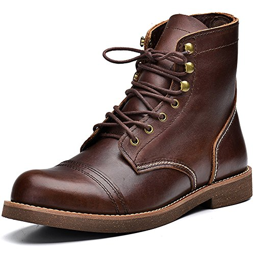 Fashion Retro High Top Men's Motorcycle Boots Full Grain Leather Construction Boots