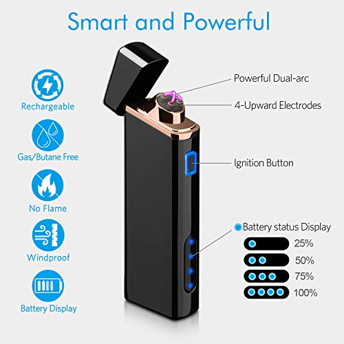 Lighter, Electric Arc Lighter USB Rechargeable Windproof Flameless Lighter Plasma Lighter with Battery Indicator (Upgraded) for Fire, Cigarette, Candle - Outdoors Indoors (Bright-Black)