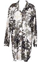 RocketWear Elegant Cream/Black/Gold Long Sleeve Cotton Knit Button Front Shirt/Robe
