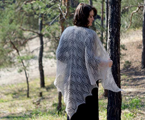 knit shawl, mother's gift from daughter, evening shawl, lace shawl, shawl and wrap, beige mohair knitted, marriage shawl, Lace Knit ()