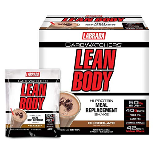 Carb Powder Watchers Body Lean - Labrada Carb Watchers Lean Body Hi-Protein Meal Replacement Shake, Chocolate, 2.29-Ounce Packets (Pack of 42)