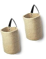 Pceewtyt Jute Hanging Storage Basket - Jute Rope Woven Storage Bins Hanging Wall Basket with Handles Decorative Baskets