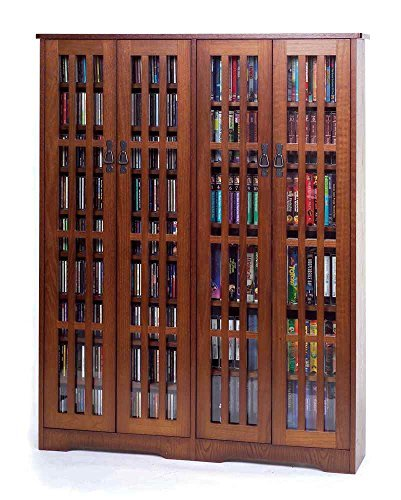 Inlaid Glass Mission Multimedia Cabinet (M-954 Series) Walnut