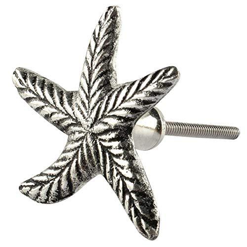 6 Piece Aluminium Silver Starfish Door Knobs Artistic Rust Free Furniture Pulls New Collection ()