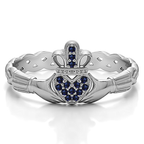 (10k White Gold Sapphire .07 CT Sapphire Celtic Claddagh Wedding Ring with Pave Heart (Sizes 3 To 15))