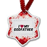 Christmas Ornament I heart love my Godfather, red - Porcelain Ornament, 3-Inch
