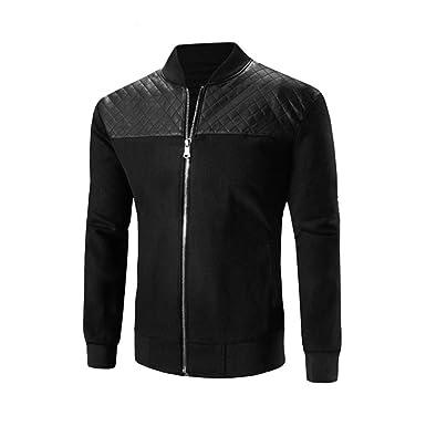 Männer Mantel VENMO Herren Herbst Winter Pullover Slim Fit Jacke Patchwork  mit Stehkragen Zipper Outwea Herren 50785cd8e6