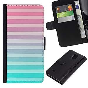 KLONGSHOP / Tirón de la caja Cartera de cuero con ranuras para tarjetas - Pink White Lines Pattern Abstract - Samsung Galaxy Note 4 SM-N910