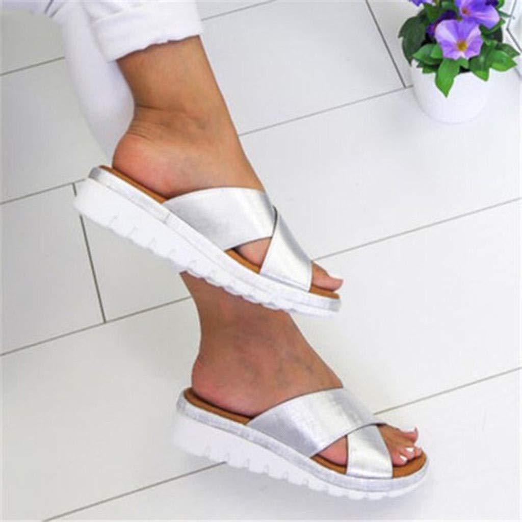 Women/'s Platform Slide-On Slippers,❤️ FAPIZI Open Toe Cross Faux Leather Shoes Casual Platform House Beach Sandals