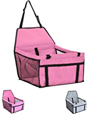 Car Seats for Small Dogs, Pet Booster Folding Carrier with Clip-On Safety Leash,2 PVC Support Bars and Zipper Storage Pocket (Pink)