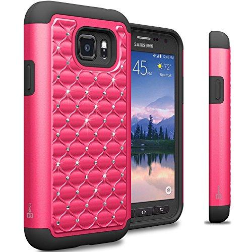 Diamond Cover Rhinestone Bling (Galaxy S7 Active Case, CoverON [Aurora Series] Cute Rhinestone Bling Studded Hybrid Diamond Cover Skin Phone Case For Samsung Galaxy S7 Active - Hot Pink Black)