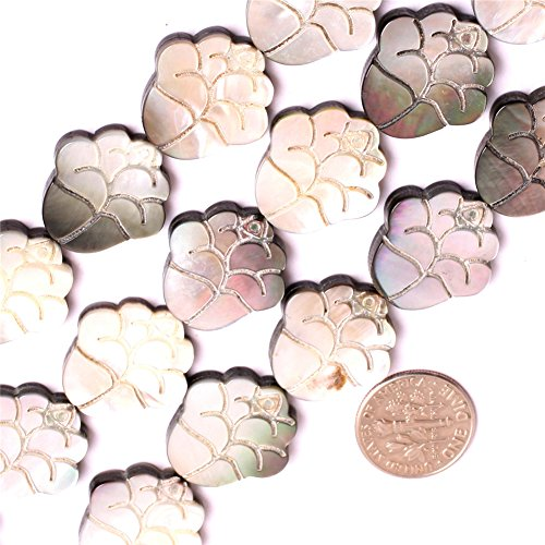 (Shell Beads for Jewelry Making Natural Semi Precious Gemstone 20mm Double Sides Carved Flower Strand 15
