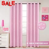 H.versailtex Light Blocking Curtains for Girls Room Printed Room Darkening Thermal Insulated Grommet Top Blackout Pink Stars Kids Curtains/Drapers, 52 by 96 inch, 1 Panel