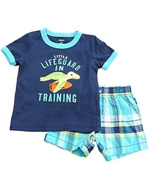 Carters Infant Boys Blue Lifeguard Turtle T-Shirt & Blue Green Plaid Shorts Set