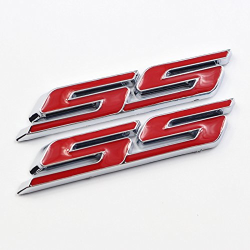 2 Pieces Red Small Tilt SS Side Fender Trunk Emblem Badge Decal Sticker For Chevy Impala Cobalt Camaro (Chevy Cobalt Trunk)