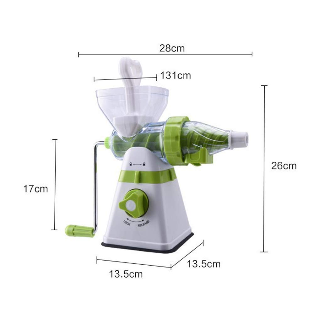 WSJS Hand Shake ice Cream Machine semi-Automatic Fruit juicer Tool Wheat Grass Juice Machine PP Material juicer Home Multi-Function Portable with White and Green, 280 × 130 × 260mm
