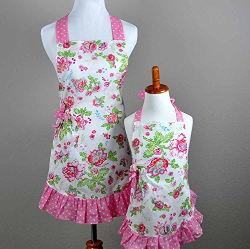 Mommy and Me Matching Pink Floral Hostess Apron Set of 2 Cooking Mother and (Daughter Aprons)