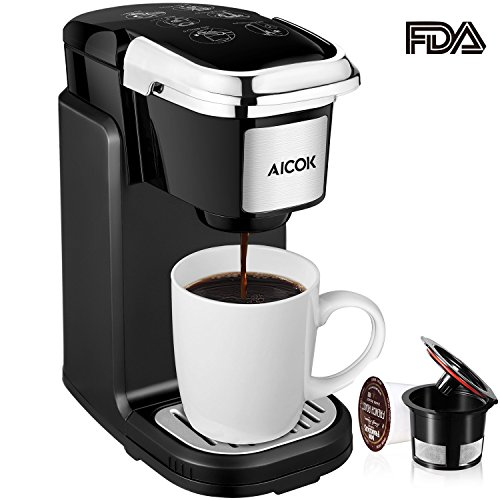 Aicok Single Cup Coffee Maker Serve Brewer With Removable Cover For Most Pods Including K CUP Quick Brew Technology 800W