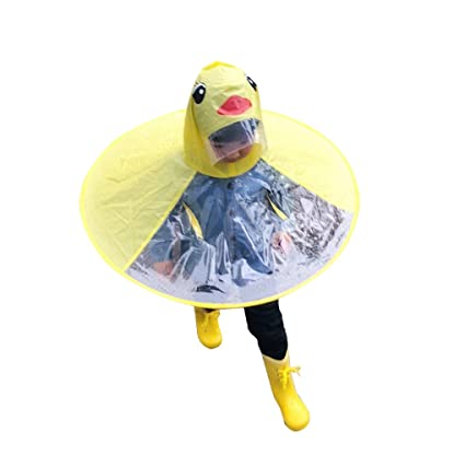 2b06c3320 Amazon.com  Lafuncosa Big Child Yellow Duck UFO Raincoat Hand Free ...