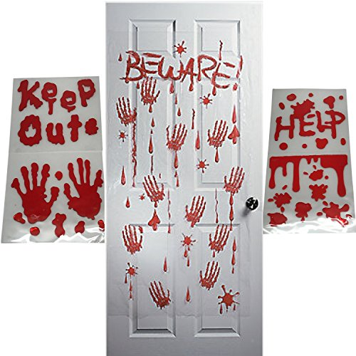 Halloween Decorations For Window-Bloody Handprint Gel Window Cling Decals-BONUS Blood Splatter Door Cover-31 pc Halloween Party Decor Supply Bundle