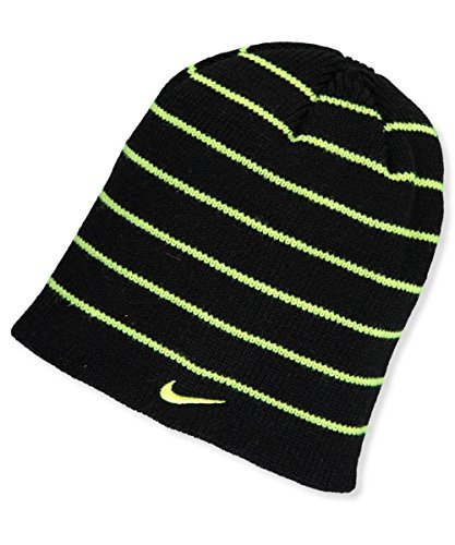 (Nike Boys' Reversible Beanie Black and Neon Green Stripe)