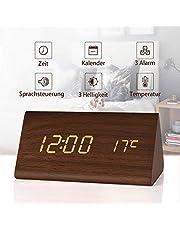 fomobest LED Wecker Digital Wecker Wiederaufladbar Holz Tischuhr Datum/Temperatur Anzeige