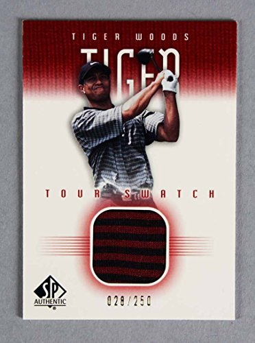 (2001 SP Authentic Tiger Woods Game-Used Shirt Tour Swatch Golf Card 26/250)