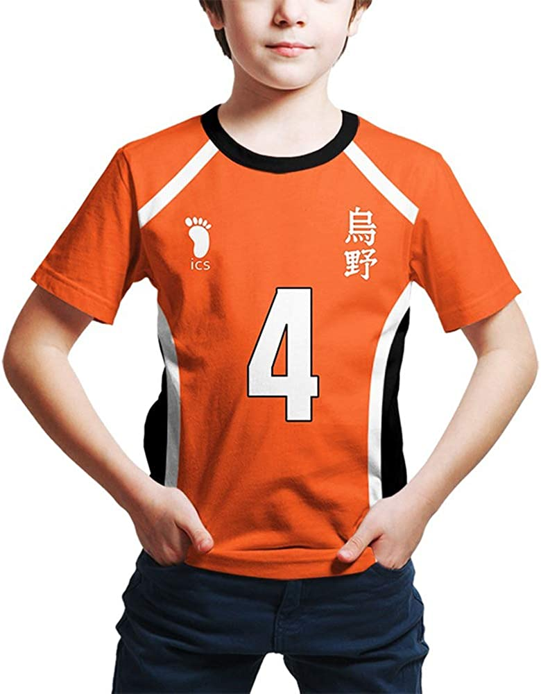 T-Shirt per Bambini Haikyuu Anime Haikyuu Kageyama Tobio Akaashi Keiji T-Shirt Cosplay Manica Corta con Stampa 3D per Ragazzi Ragazze Adolescenti