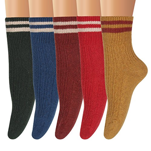 Ofeily Winter Socks 5 Pairs Women Vintage Wool Socks Thick Knit Warm Comfort Socks (ZYX-00105E)