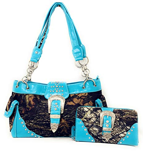 Colors with 5 Wallet Rhinestone Shoulder Camouflage Purse Style in Handbag Concho New Matching Blue Buckle 1OwnF