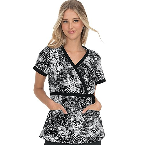 KOI Prints Women's Kathryn Mock Wrap Web Print Scrub Top Large Print -
