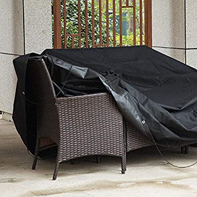 Meerveil Funda Mesa Jardin, 600D Oxford Fundas Impermeables para Muebles de Jardin, Funda Sillas Jardin a Prueba de Viento, Funda Sillones Jardin ...