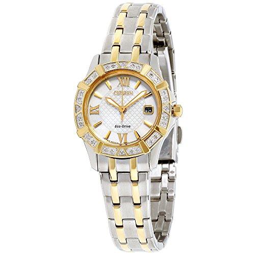 Citizen Womens white dial, stainless-steel bracelet watch EW236450AXG (Certified (Citizen White Wrist Watch)