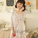Fresh navy wind stripe sleeve cotton nightdress Ms. foreign trade day single original single cotton pajamas Japanese home