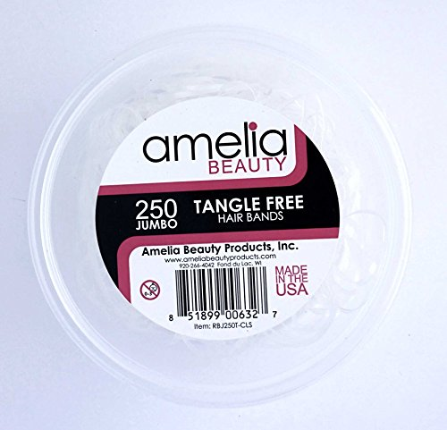 Amelia Beauty Products 250 Count Jumbo TANGLE FREE Elastic Pony Tail Holders (Clear)