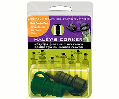 Haley's Corker 5-in-1 Wine Aerator, Stopper, Pourer, Filter, Recorker, 2-Pack Combo (Standard, Screwtop)