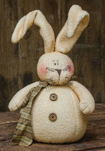 Roly Poly Fleece Bunny - Primitive Country Fabric Spring Easter Rabbit Decor