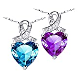 """Created Blue Topaz / Amethyst Heart Pendant Necklace Sterling Silver Birthday Gifts for Women, 18"""""""