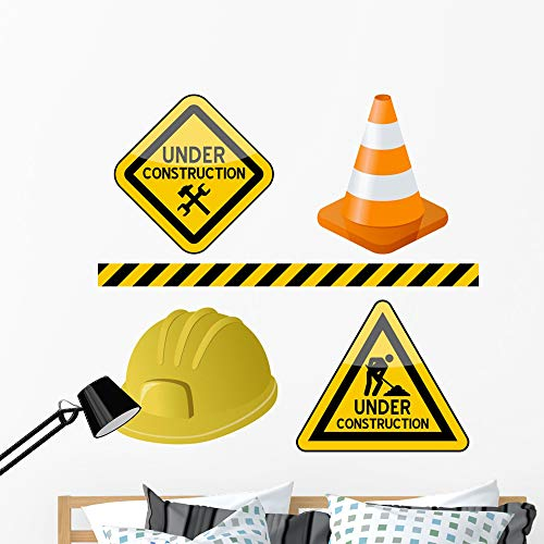 Wallmonkeys Under Construction Symbols Set Wall Mural Peel and Stick Vinyl Graphic (48 in H x 48 in W) - Signs Clipart Traffic