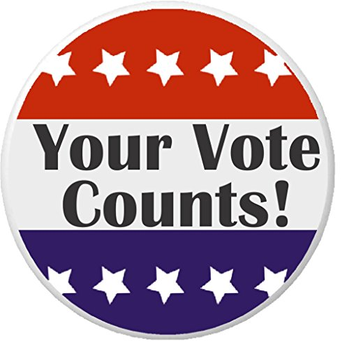 Your Vote Counts! Red White Blue Stars 1.25