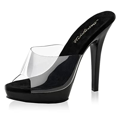711c72ba725 Simply Sexy Black High Heel Sandals with Clear Top Strap and 5 Inch Heels  Size
