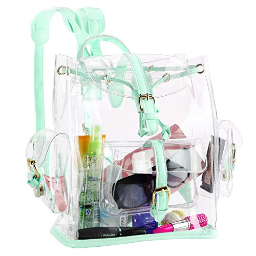 Zicac Summer Clear Backpack Cute Knapsack Satchel Transparent Stadium Approved Backpack (Green) ()