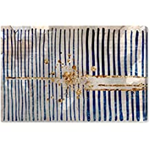 "Rivet Blue Stripes and Gold Burst Canvas Print, 36"" x 24"""