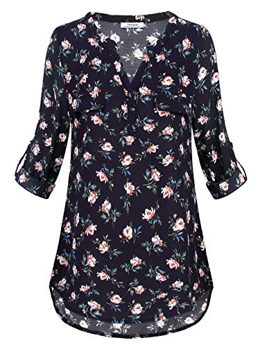 - Women Tunics Tops 3/4 Sleeve,Youtalia Direct Notch V Neck Half Cuffed Sleeve Tunic Shirts Casual Daily Wear Clothes Black XXL