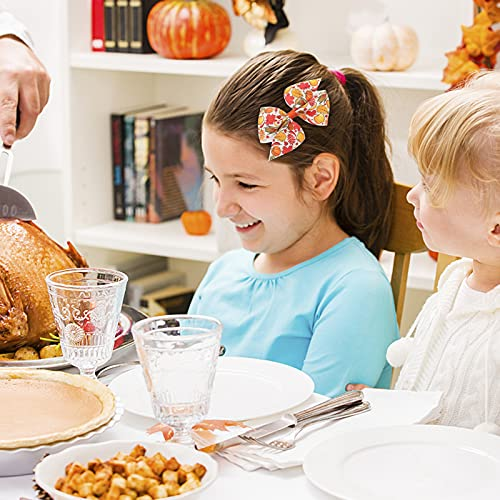 2 Pack Thanksgiving Turkey Headband with 2 Pack Thanksgiving Bowknot Hair Clips Hair Bow on Stretch Headband for Baby Girls Toddler Newborn Infant