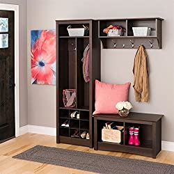 Prepac Space-Saving Entryway 3 Piece Organizer in Espresso