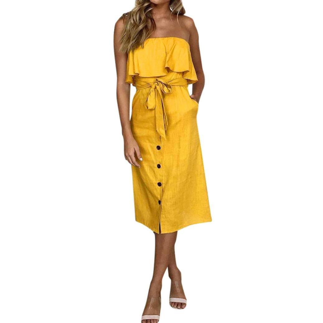 LILICAT® Vestido Mujer Botón Off hombro Bardot Ladies 2018 Verano Volantes cinturón sin mangas Noche vestido elegante Prom