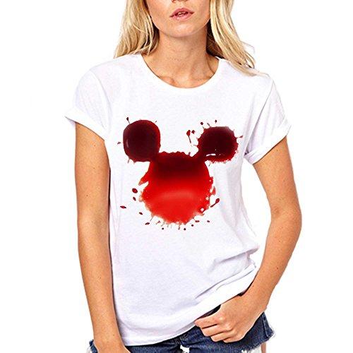 GullPrint Women's Halloween Blood Mickey T Shirt Large White