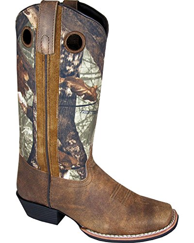 Smoky Mountain Women's Tupelo Camo Cowgirl Boot Square Toe Brown 10 M US ()