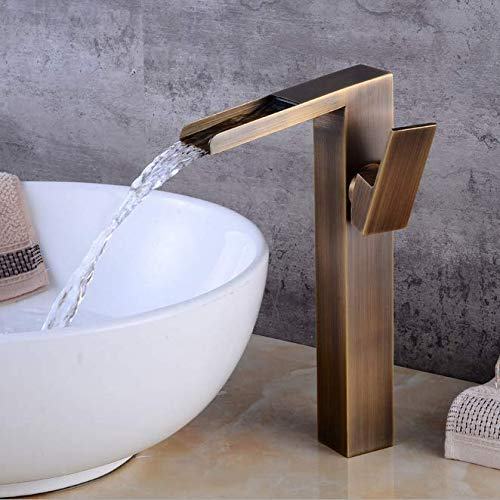 European Copper Leather Faucet Upper Basin Cold and Hot Water Faucet Retro Bathroom Faucet Washing Basin ()